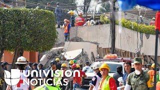 Realizan labores de rescate de niña que quedó entre los escombros de escuela en México