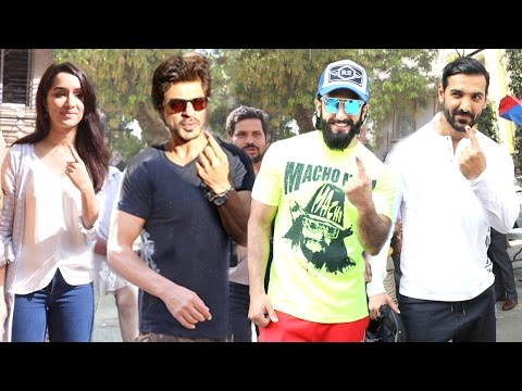 All Bollywood Celebs Voting At Mumbai's BMC Elections 2017 - Shahrukh,Ranveer,John,Shraddha