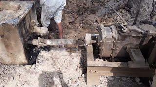 Bricks making machine with engine