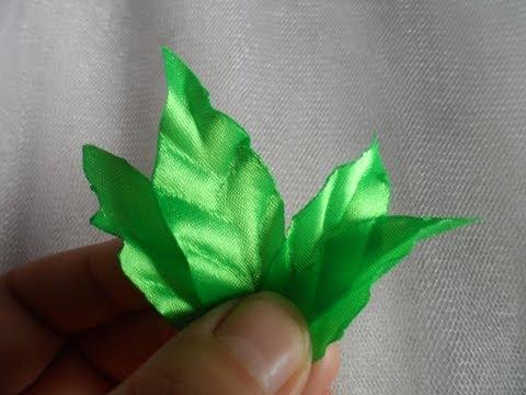 Как сделать лист из атласной ленты