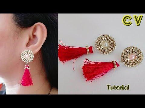 How to make silk thread earrings / Silk thread tassel  earrings / Silk thread jewellery making