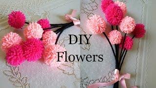 DIY Pom-Pom flowers- Wool Flowers- Home Decor- The Blue Sea Art
