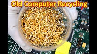 Gold recycling from cpu computer parts I Gold Recycle from scrap Circuit boards pins connectors.