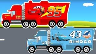 Disney LIGHTNING MCQUEEN Truck and Pixar Dinoco Big Truck - Monster Truck for Kids
