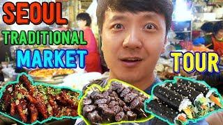 Korean TRADITIONAL Market Street Food Tour in Seoul