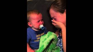 Baby makes wicked impersonation because of mommy's crying