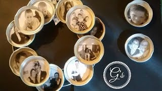 Upcycled Jar Lid Family Picture Wreth And Mangets Tutorial/DIY