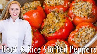 Easy Meat & Rice Stuffed Peppers