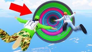 3 NOOBS vs. 1 EXTREME TIGHT RAINBOW DROPPER! (GTA 5 Funny Moments)