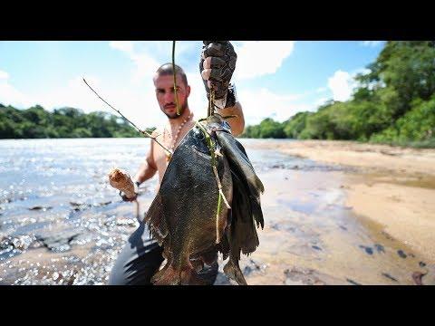 Primal SpearFishing For Giant Piranha in Rapids EP.3 Jiggin With Jordan