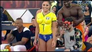 Sexy Brazilian Soccer Body Paint Girl