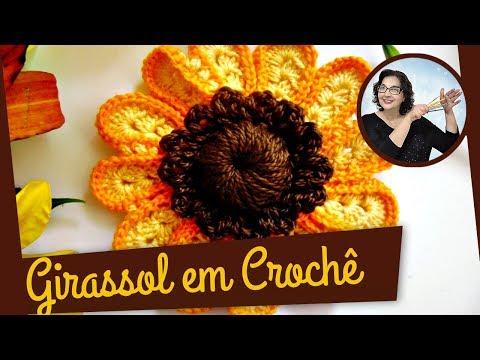 CROCHÊ FLOR GIRASSOL 1