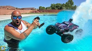 RC Car Drive Across Swimming Pool Adventure!!