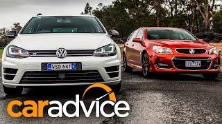 2016 Holden Commodore SS-V Redline v Volkswagen Golf R Review : Wagon track and drag battle