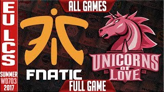 Fnatic vs Unicorns of Love Highlights ALL GAMES Week 7 EU LCS summer 2017 FNC vs UOL