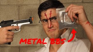 SHOT WITH METAL AIRSOFT BBs | Insane Airsoft Guns Experiment Fail | Experiment Gone Wrong BLOOD