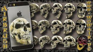 """Airbrush by Wow No.894 """" Totenkopf auf altem iPhone  """" mit deutschem Kommentar"""