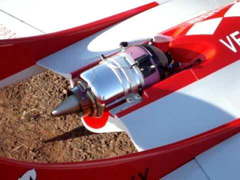 aeromodelo R C acionamento de turbina e decolagem