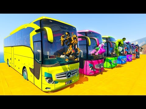 Xxx Mp4 LEARN COLOR BIG BUS With Superheroes Cartoon For Kids And Babies 3gp Sex