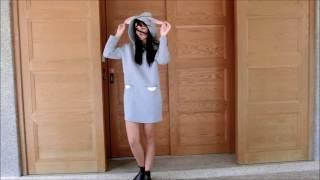 太空棉立體兔耳朵連帽雙口袋連身裙 2色#22773
