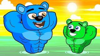 Mega Gummy Bear Family Bodybuilders Funny Full Episodes Cartoon Animation