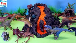Schleich Dino Volcano Adventure Playset and Dinosaurs Toys For Kids - Lean Dinosaur Names