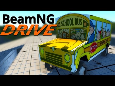 BeamNG.Drive #2   THE WHEELS ON THE BUS GO CRASH!!