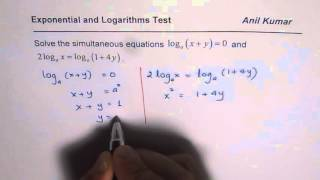 Exponential Logarithmic Simultaneous Equation Extraneous Roots