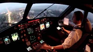Sarajevo, LQSA cockpit view landing 12 in rain