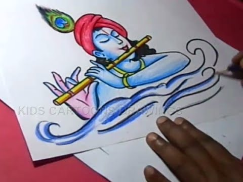 How to Lord Flute krishna Drawing for kids Step By Step