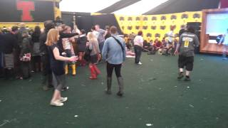 Girl off her rocker at T in the Park falling
