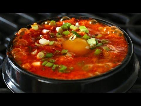 Kimchi soft tofu stew (kimchi sundubu-jjigae: 김치순두부찌개)