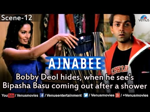 Bobby Deol Hides when he sees Bipasha Basu coming out of the Shower (Ajnabee)