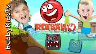 Real Life Red Ball Game + SKIT! iPad App Battle. Video Game Play HobbyKidsTV