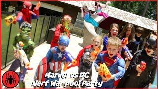 Nerf War Marvel vs DC, Spiderman Batman Mermaids pool party superhero real life movie SuperHeroKids
