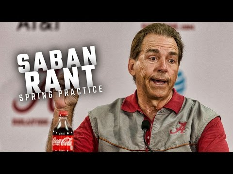 Alabama head coach Nick Saban rants about NCAA rips a reporter at spring practice press conference
