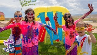 BOYS VS GIRLS! Paint War and the Wacky Car Wash!!