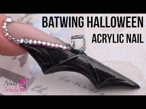 Bat Wing Shaped Acrylic Nail with Bling Halloween Nail Design