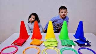 Playing and Learning Colors with Ring Toss and Color Cone Toy for Children