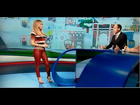 Diletta Leotta with leather pants