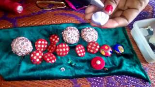 How to make colorfull button using cloth and cotton at home DIY