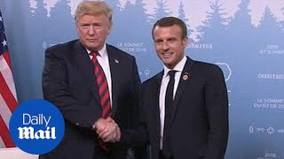 Trump and French President Macron meet at at the G7 Summit - Daily Mail