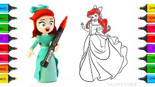 DISNEY PRINCESS Coloring Pages | How to Draw Ariel The Little Mermaid | Youtube Videos for Children