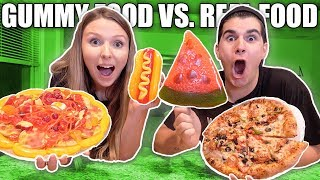 Gummy Food vs Real Food CHALLENGE! **EATING GIANT GUMMY FOOD**