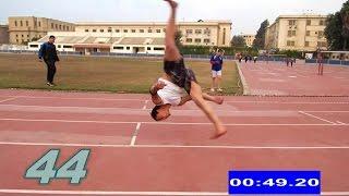 نسر الكونغ فو يحقق أعلي رقم في العالم في دقيقة العجلة الهوائية Most aerial cartwheels in a minute