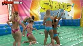 Brazilian Women Playing Slip-N-Slide Soccer