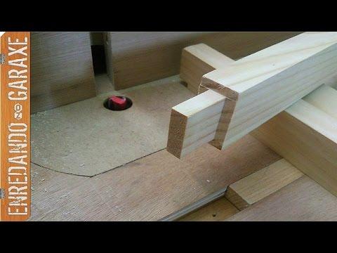 Guía de fresar a 90 grados y cortar espigas de madera