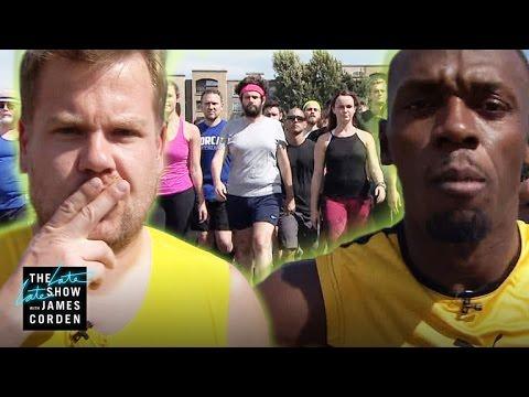 100m Race Usain Bolt vs James Corden & Owen Wilson