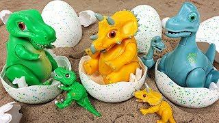 Dino Mecard talking, recording egg tiny dinosaur Triceratops, Brachiosaurus appeared! - DuDuPopTOY
