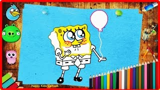 Spongebob Squarepants Coloring Pages For Kids - Learn Colors With Us - Happy Kids Cartoon